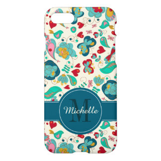 Cute Monogram Floral Boho Chic iPhone 7 Case