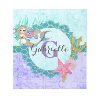 Cute Monogram Mermaid Teal & Purple Watercolor Notepad
