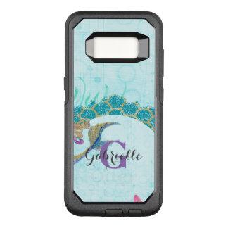 Cute Monogram Mermaid Teal & Purple Watercolor OtterBox Commuter Samsung Galaxy S8 Case