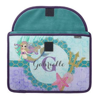 Cute Monogram Mermaid Teal & Purple Watercolor Sleeve For MacBook Pro