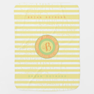 cute monogram on yellow striped baby blanket
