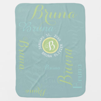 cute monogram with pattern of baby name baby blanket