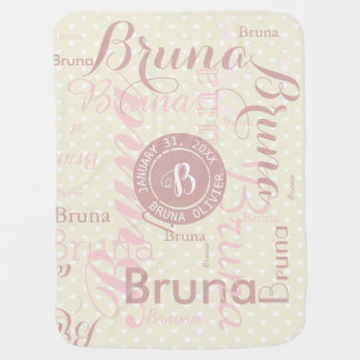 cute monogram with pattern of names pink baby blanket