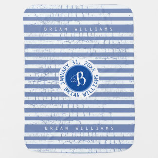 cute  monogram with stripes on blue boys baby blanket