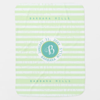 cute monogram with stripes on green baby blanket