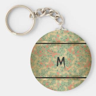 Cute Monogrammed Metal Flowers Keychain