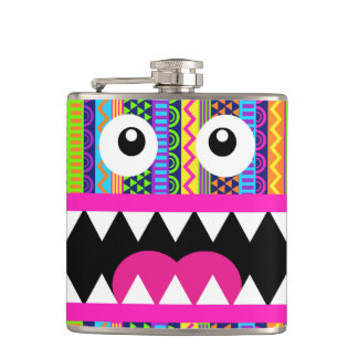 Cute Monster Aztec Face Hip Flask