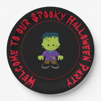 Cute Monster Boy Halloween Costume Party Paper Plate
