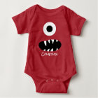 Cute Monster Face Silly Personalized Baby Red Baby Bodysuit