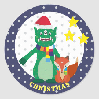 Cute Monster, retro fox Happy New Year Classic Round Sticker