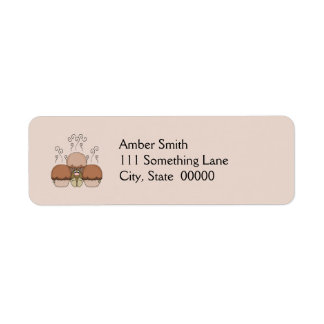 Cute Monster With Orange Frosted Cupcakes Return Address Label