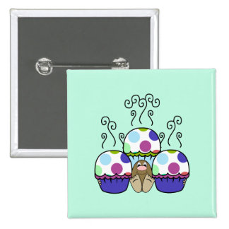 Cute Monster With Pink And Blue Polkadot Cupcakes Button