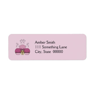 Cute Monster With Pink Frosted Cupcakes Return Address Label