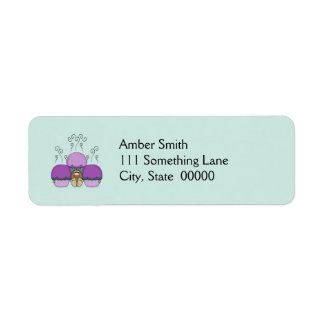 Cute Monster With Purple And Cyan Frosted Cupcakes Return Address Label