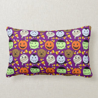 Cute Monsters And Candy Corn Lumbar Pillow