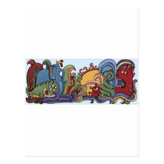 Cute monsters in strange world postcard