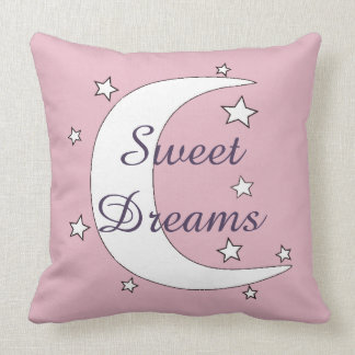Cute Moon and Stars Sweet Dreams Throw Pillow