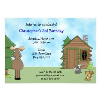 Cute Moose & Cabin Birthday Invitation for Boys