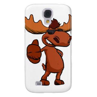 Cute moose cartoon waving.