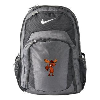 Cute moose cartoon waving. backpack