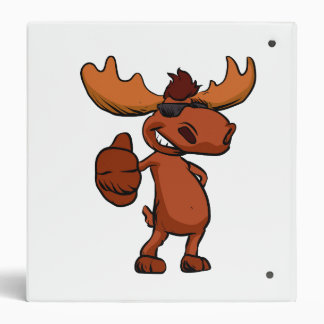 Cute moose cartoon waving. binder