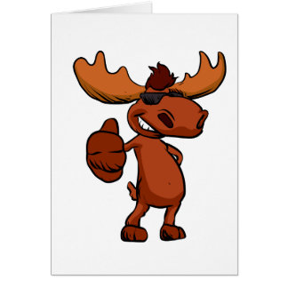 Cute moose cartoon waving. card