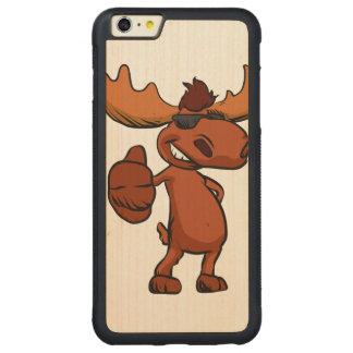 Cute moose cartoon waving. carved maple iPhone 6 plus bumper case