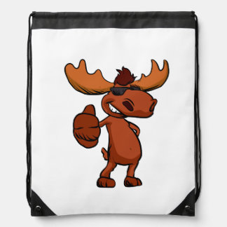 Cute moose cartoon waving. drawstring bag