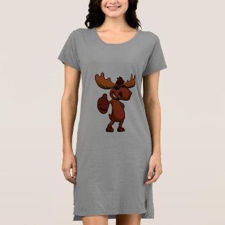 Cute moose cartoon waving. dress