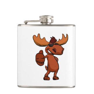 Cute moose cartoon waving. hip flask