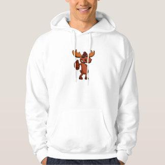 Cute moose cartoon waving. hoodie