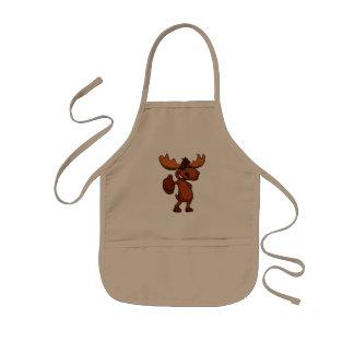 Cute moose cartoon waving. kids apron