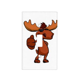 Cute moose cartoon waving. light switch cover