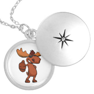 Cute moose cartoon waving. locket necklace