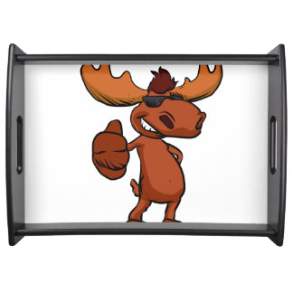 Cute moose cartoon waving. serving tray