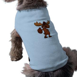Cute moose cartoon waving. shirt