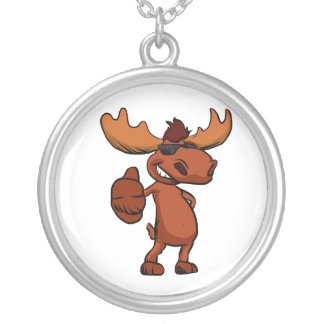 Cute moose cartoon waving. silver plated necklace