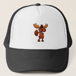 Cute moose cartoon waving. trucker hat
