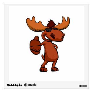 Cute moose cartoon waving. wall decal