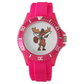Cute moose cartoon waving. watches