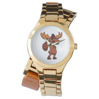 Cute moose cartoon waving. wrist watch