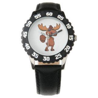 Cute moose cartoon waving. wrist watches