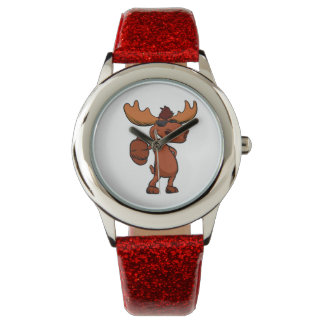 Cute moose cartoon waving. wristwatch