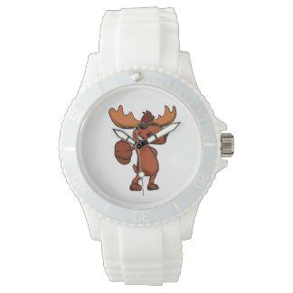 Cute moose cartoon waving. wristwatches