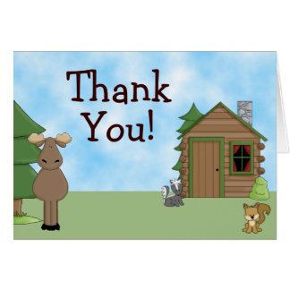 Cute Moose, Forest Animals and Cabin Thank You Card
