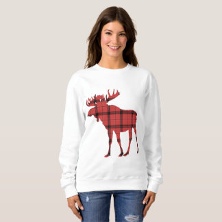 Cute Moose Red and Black Plaid Buffalo Pattern Sweatshirt