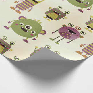 Cute mostres themed for kids, children gift rustic wrapping paper