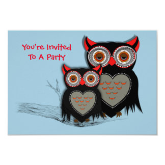 """Cute Mother and Baby Owl Theme 3.5"""" X 5"""" Invitation Card"""