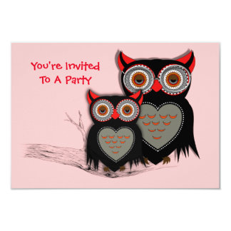 Cute Mother and Baby Owl Theme 3.5x5 Paper Invitation Card