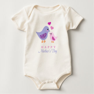 Cute mother and child birds mother's day baby bodysuit